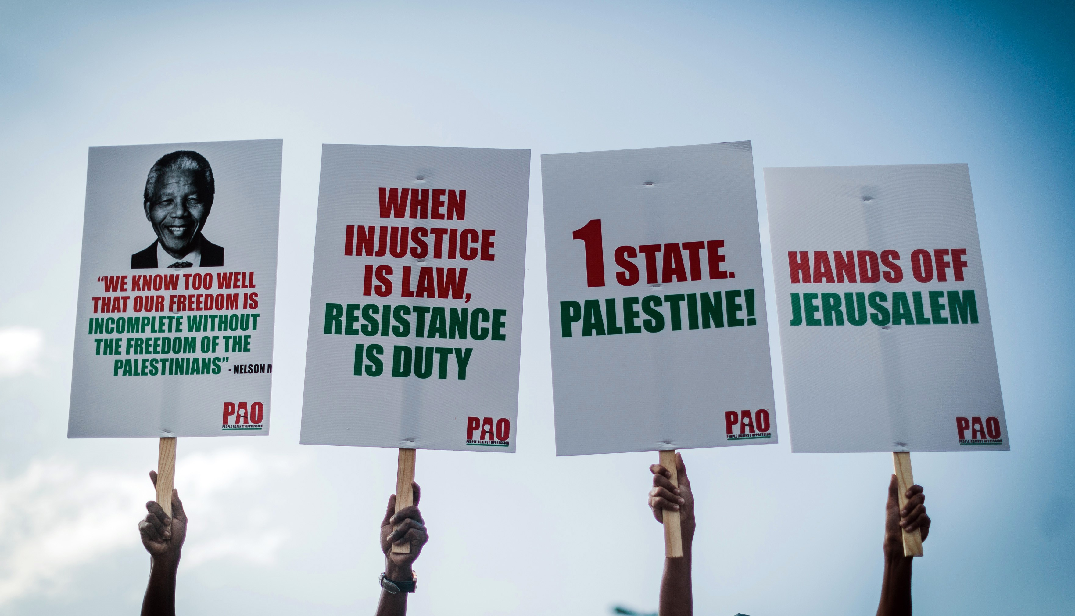 A demonstration by pro-Palestinian groups and other civil society organisations, in Durban on 2 June, 2018 to protest against the killing of Palestinians by Israeli forces in Gaza (AFP)
