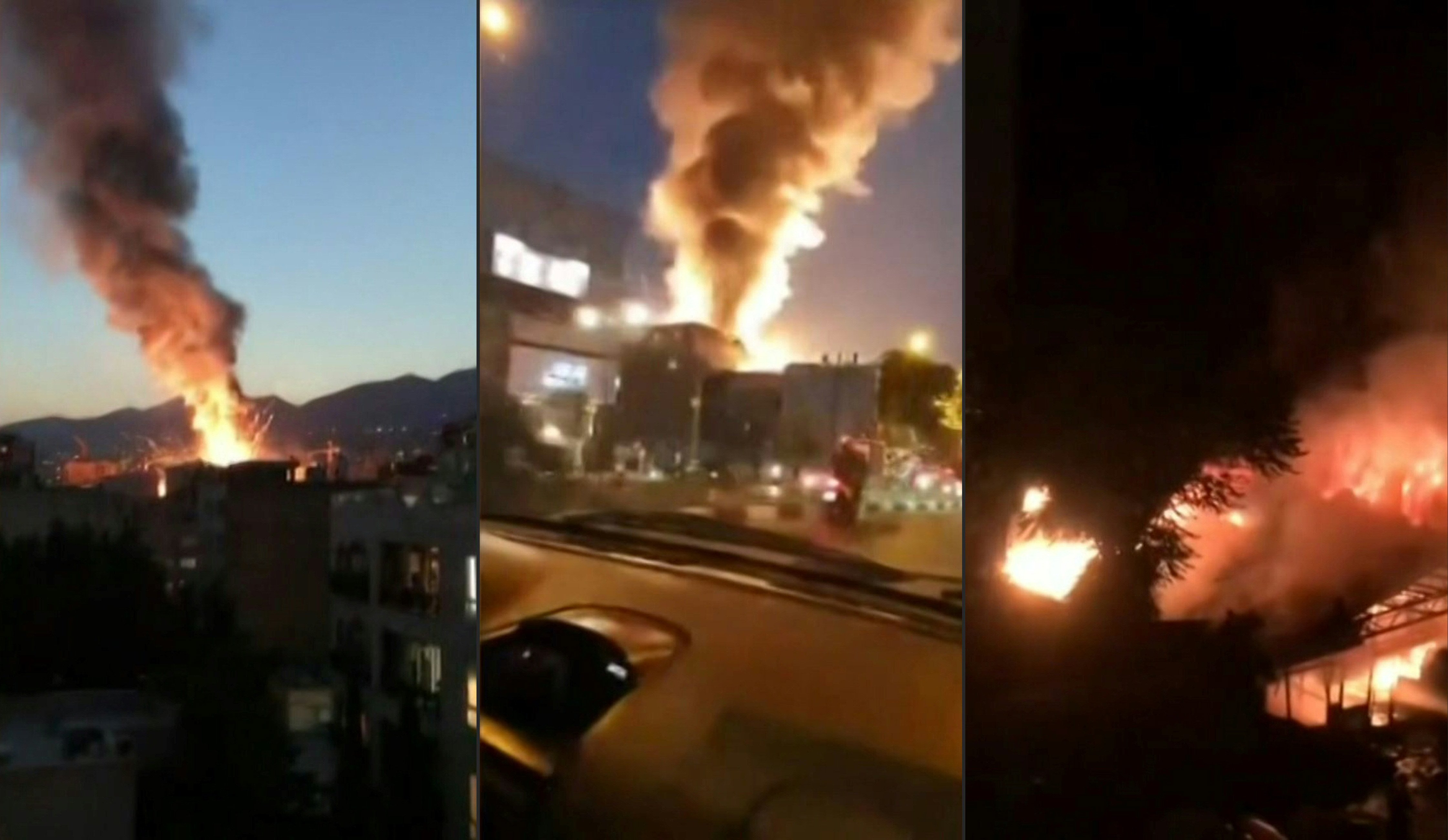 This combination image grabs from footage obtained from the state-run Iran Press news agency on 30 June shows footage of a powerful explosion at a clinic in northern Tehran (AFP)