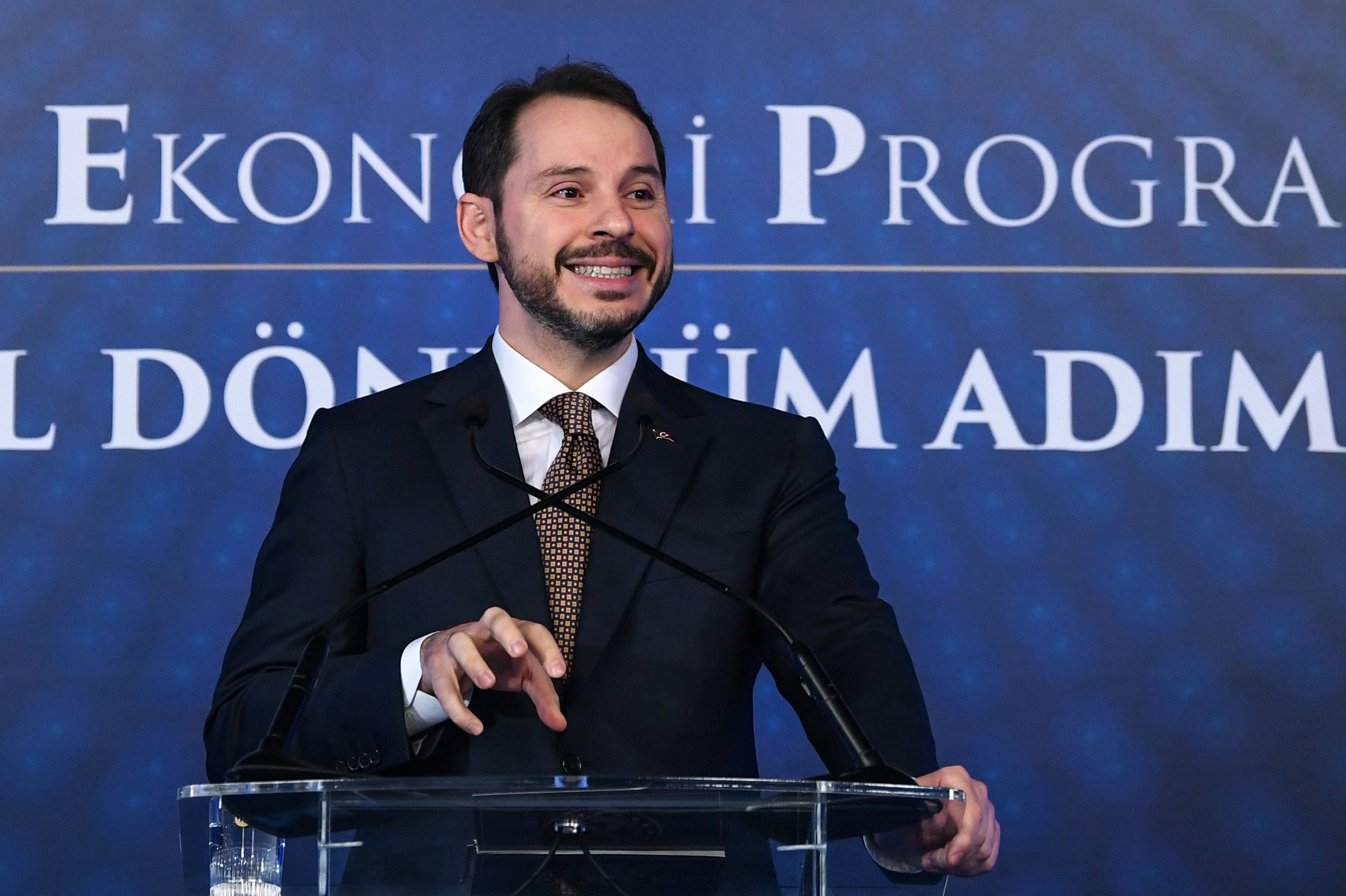 Turkish Treasury and Finance Minister Berat Albayrak addresses a press conference to announce his new economic policy and reforms in Istanbul on 10 April, 2019 (AFP)