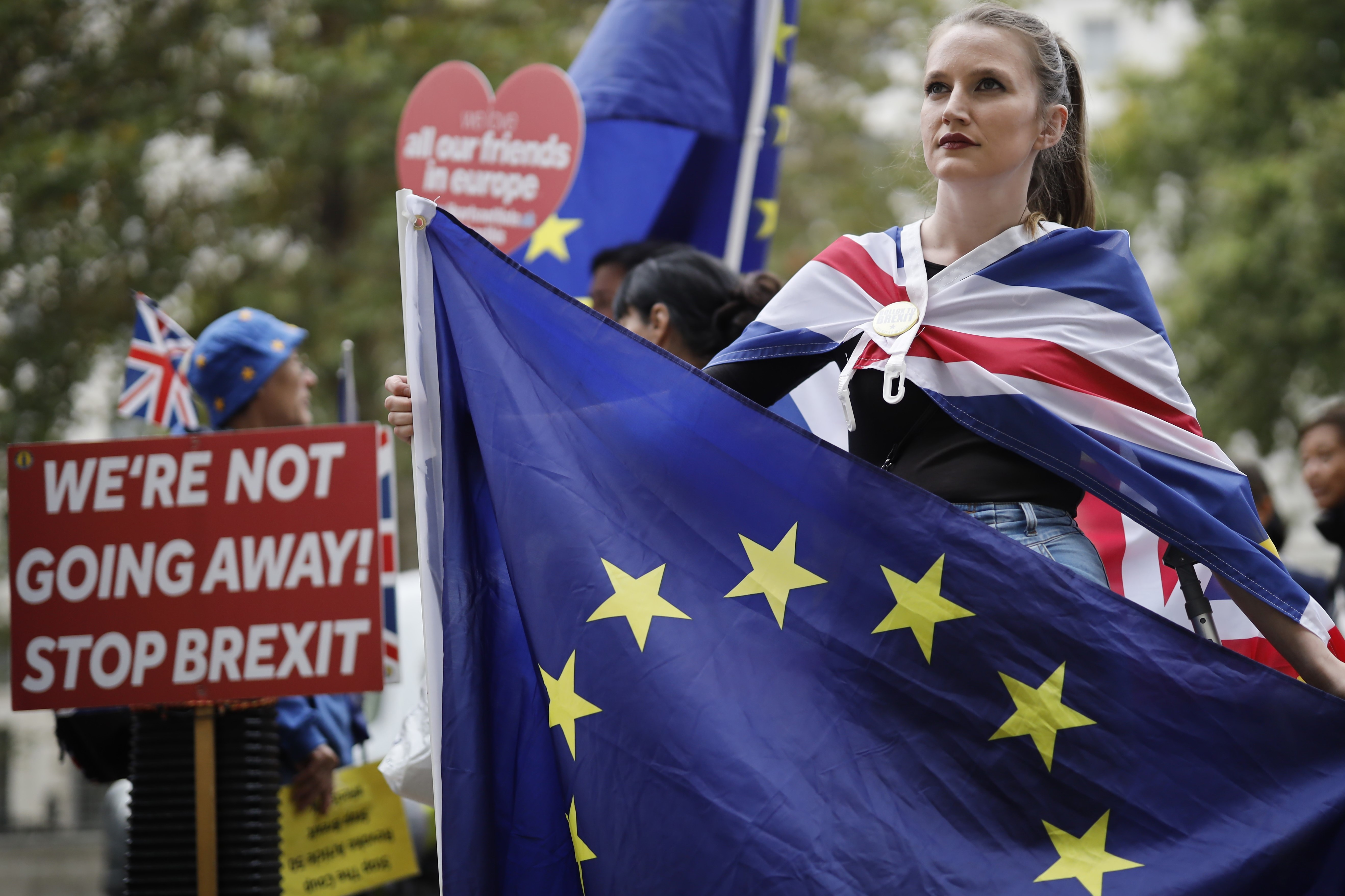 Anti-Brexit activists, and demonstrators in central London on 10 September (AFP)