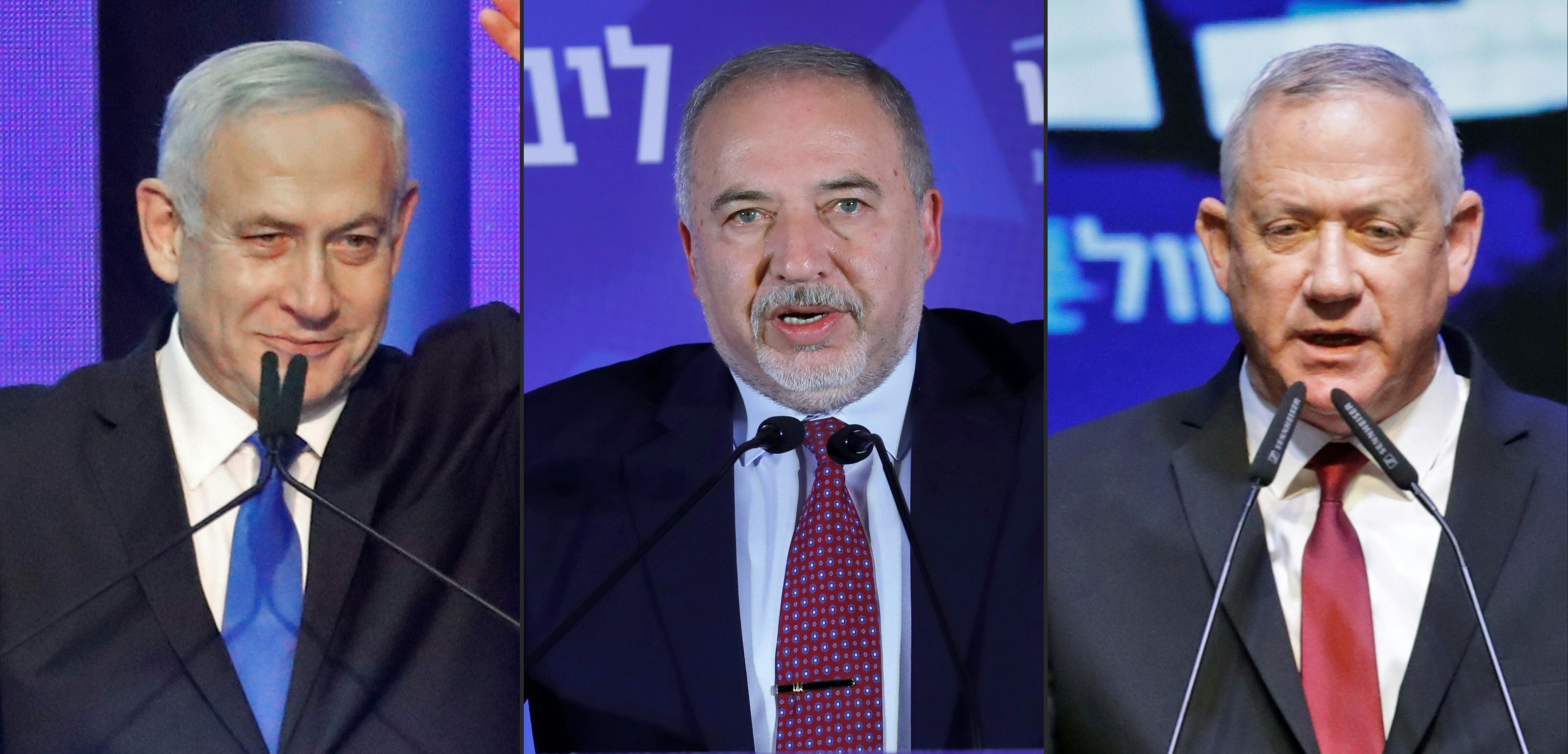 Israeli Prime Minister Benjamin Netanyahu, Avigdor Lieberman, leader of the Israeli nationalist Yisrael Beiteinu party and retired General Benny Gantz (AFP)