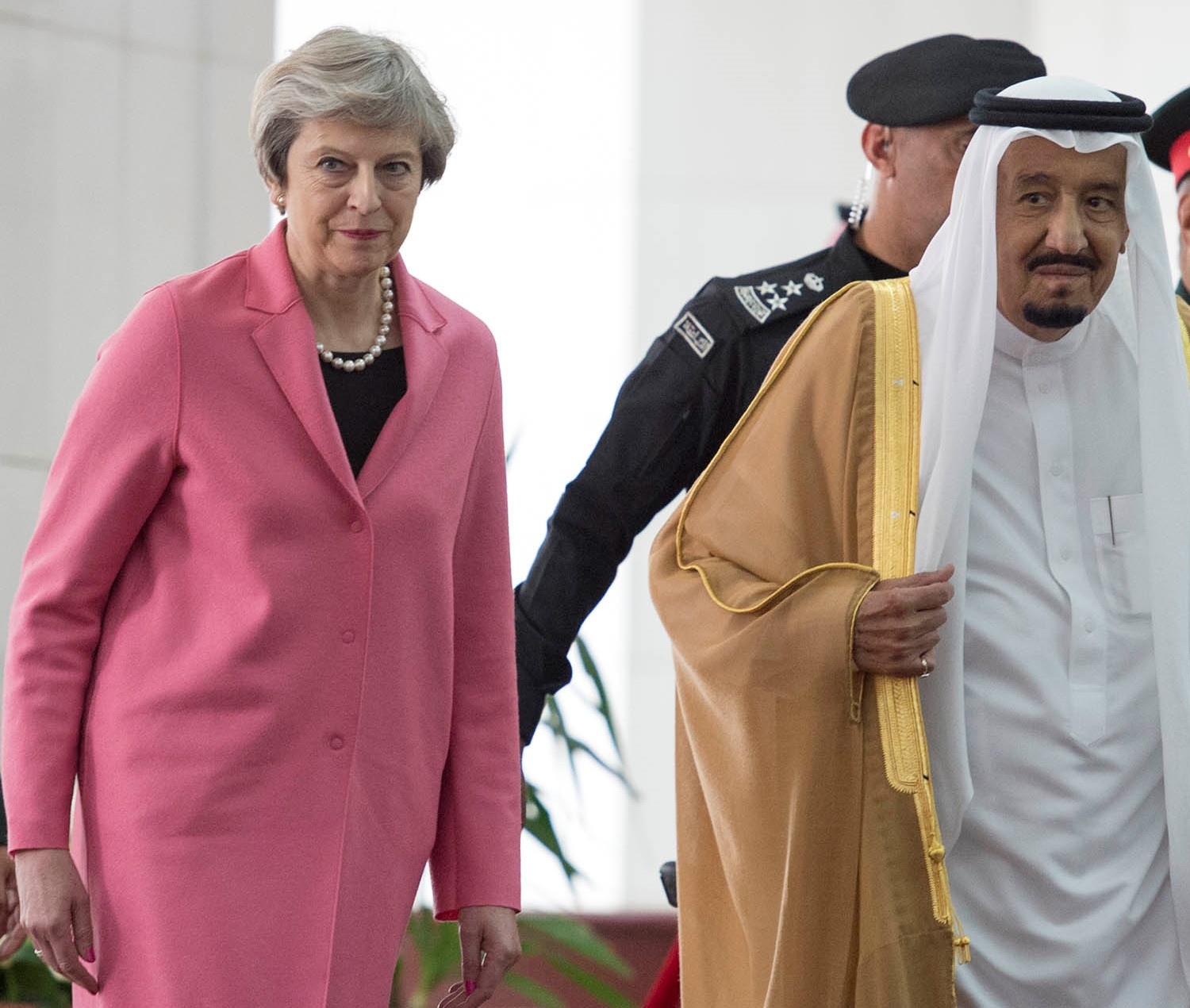 April 5, 2017 shows Saudi Arabia's King Salman bin Abdulaziz al-Saud receiving British Prime Minister Theresa May in the capital Riyadh.