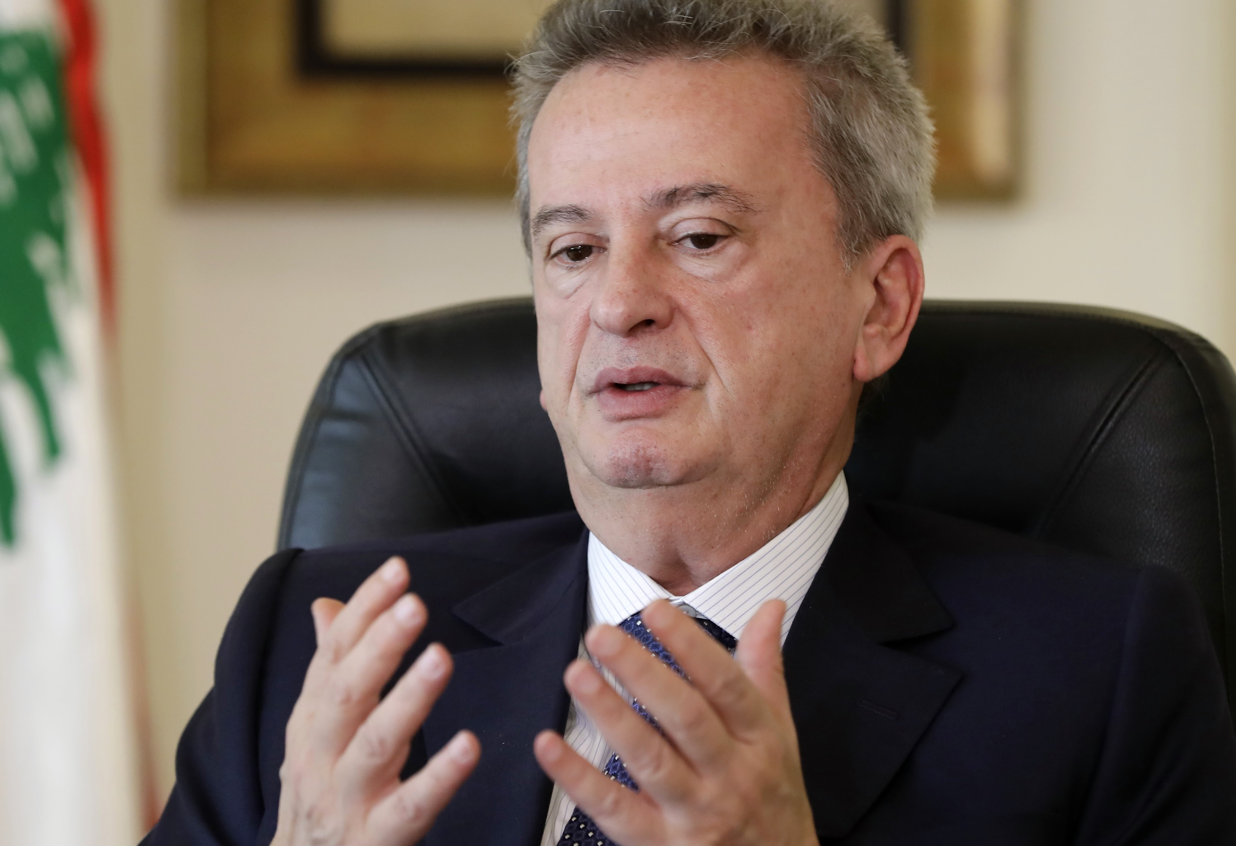 Lebanon's Central Bank Governor Riad Salameh at his office in Beirut on 15 December, 2017 (AFP)