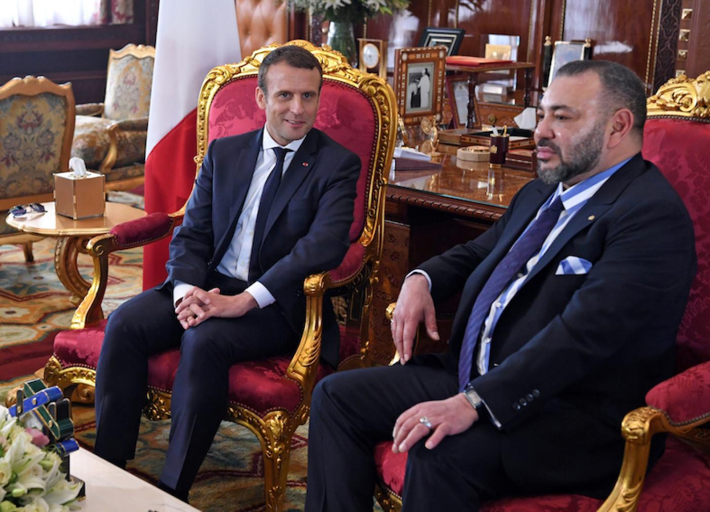 French President Emmanuel Macron meets Mohammed VI in Rabat in 2017 (Reuters)