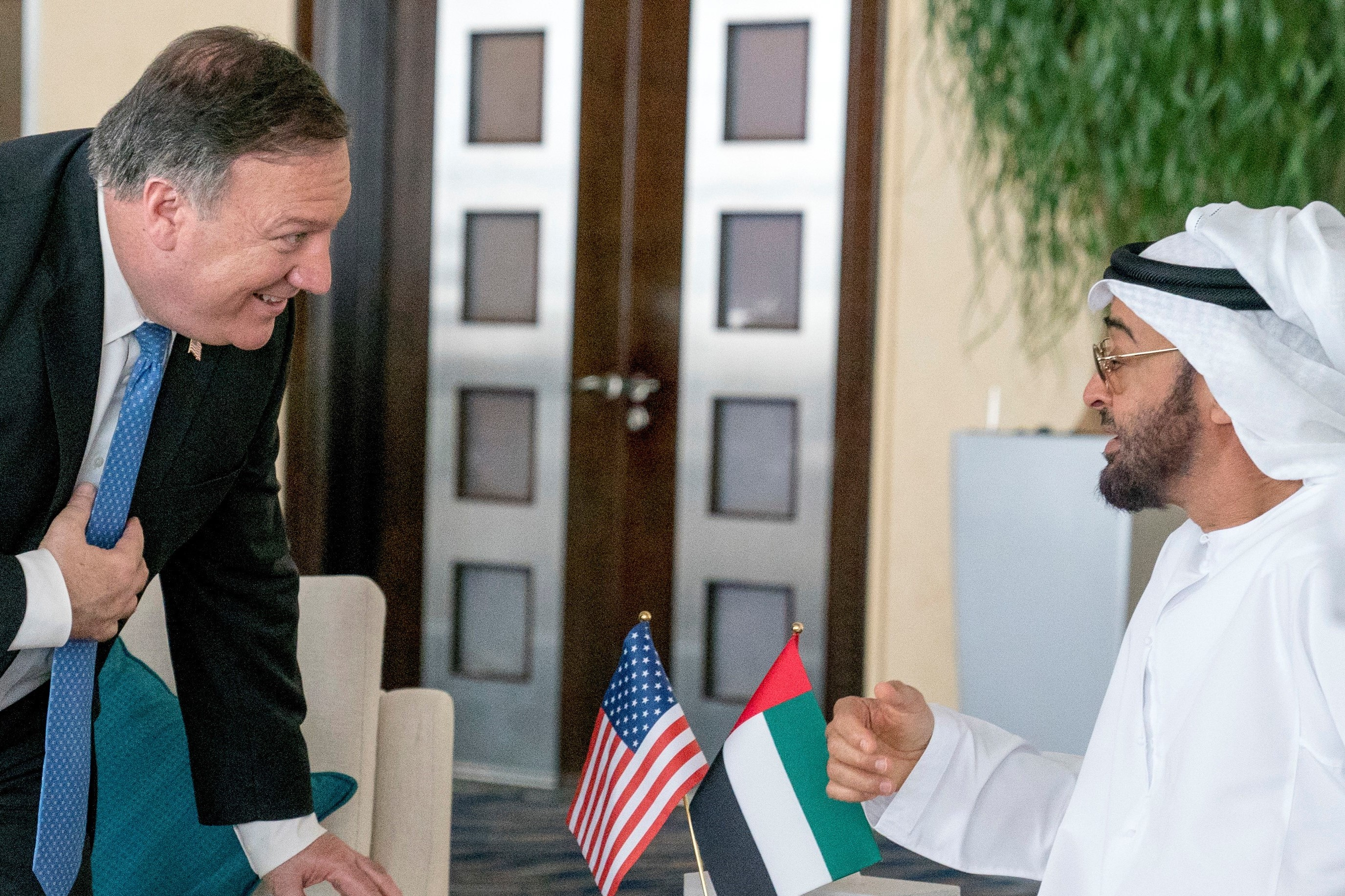 U.S. Secretary of State Mike Pompeo and Abu Dhabi's Crown Prince Sheikh Mohammed bin Zayed al-Nahyan meet at the Al Shati Palace in Abu Dhabi, United Arab Emirates, July 10, 2018