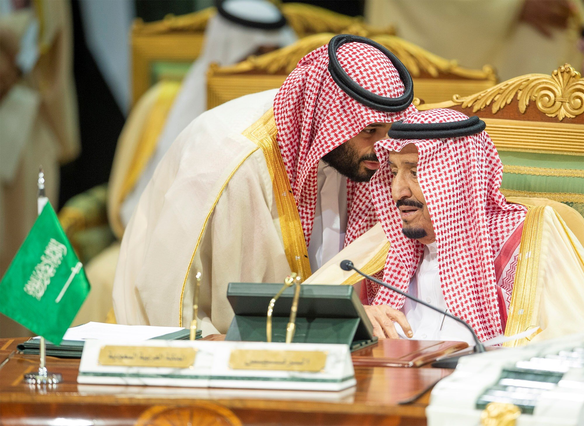 Saudi Arabia's crown prince talks with King Salman during the Gulf Cooperation Council's (GCC) Summit in Riyadh, Saudi Arabia on 9 December 2018 (Reuters)