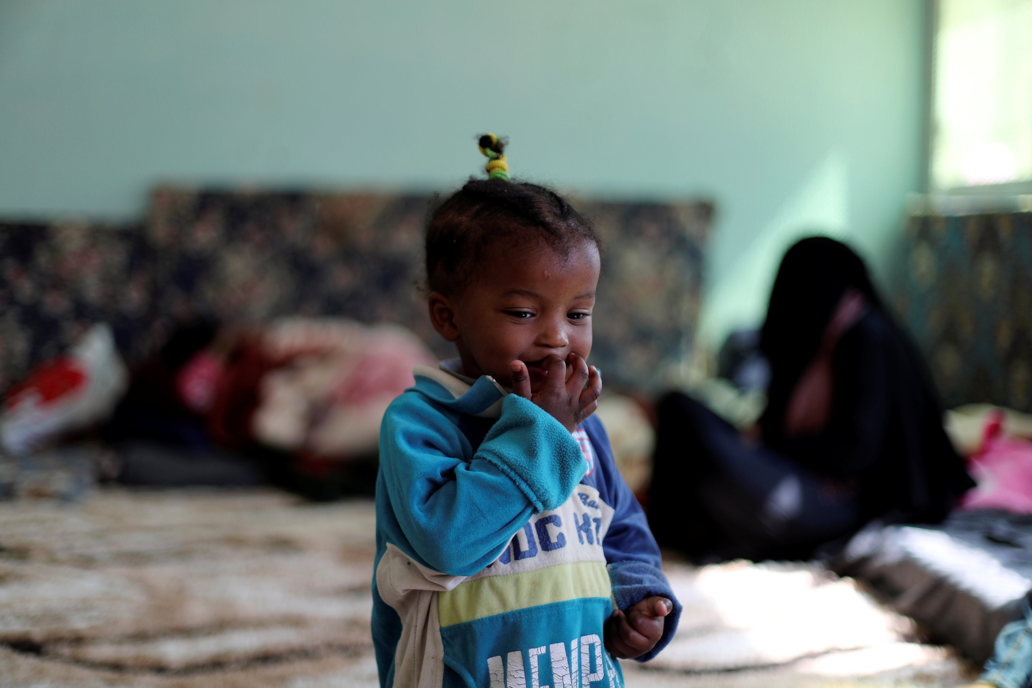 C Libyan displaced child, who fled her house because of the fighting between the Eastern forces commanded by Khalifa Haftar and the internationally recognised government on 14 April (Reuters)