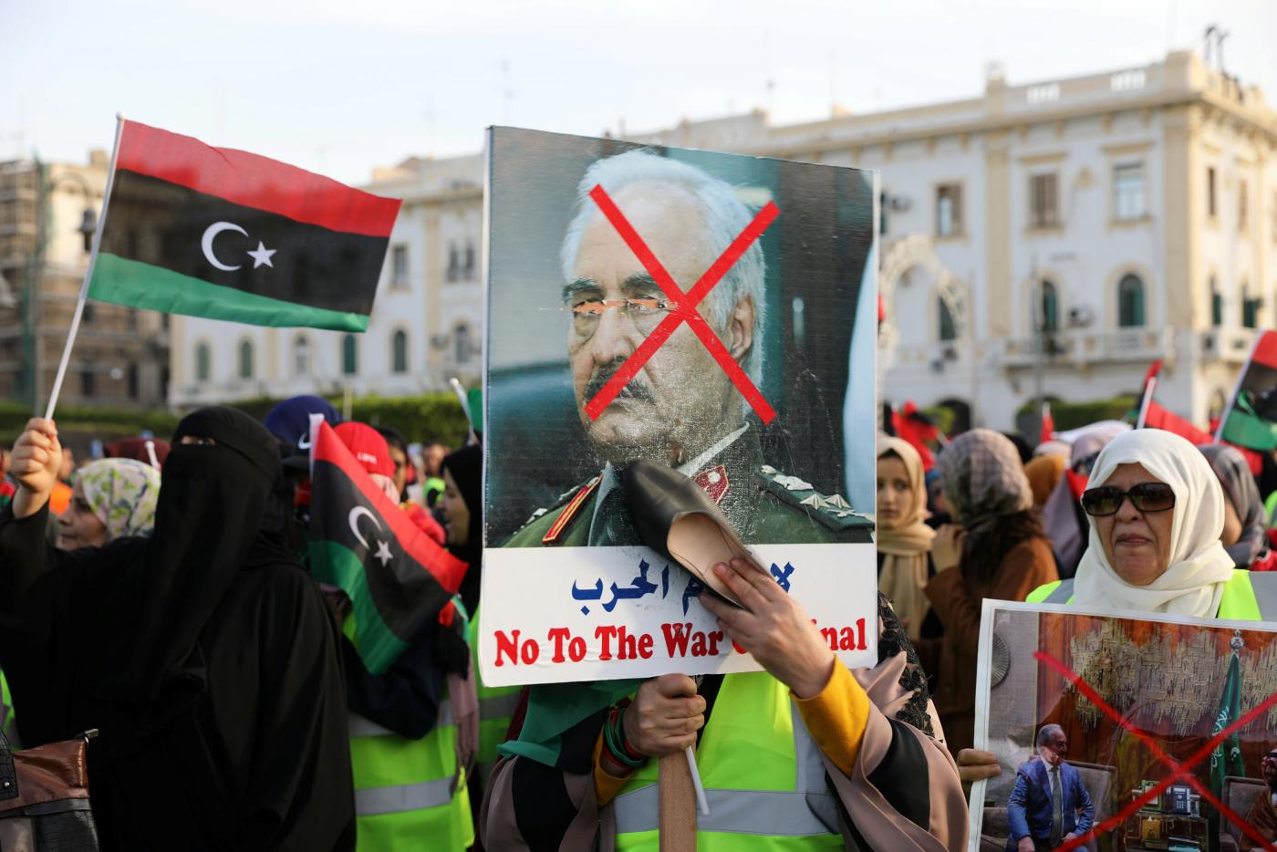 Libyans demand an end to Haftar's attack in a protest in Tripoli (Reuters)