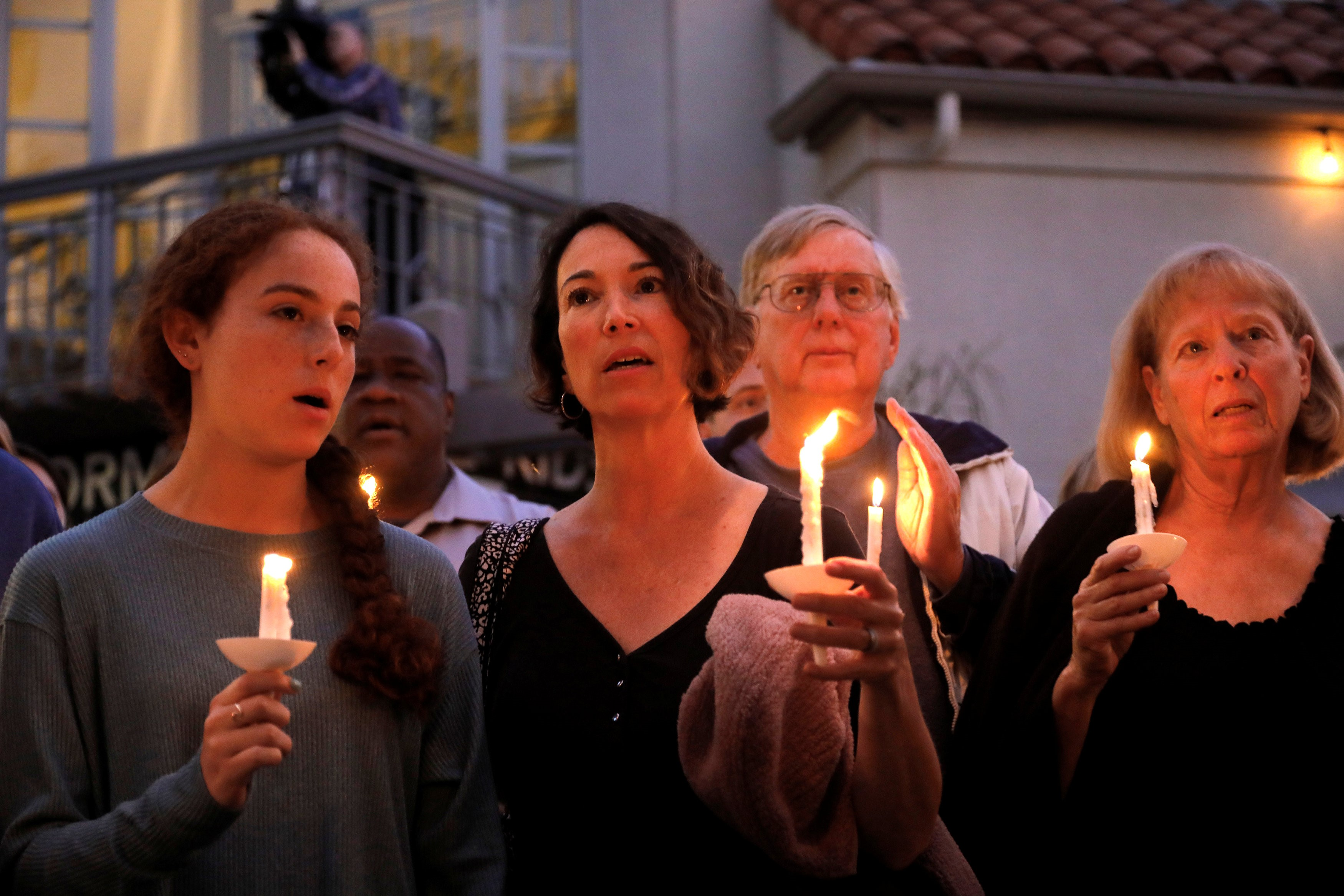 A candlelight vigil is held at Rancho Bernardo Community Presbyterian Church for victims of a shooting incident at the Congregation Chabad synagogue in Poway on 27 April (Reuters)