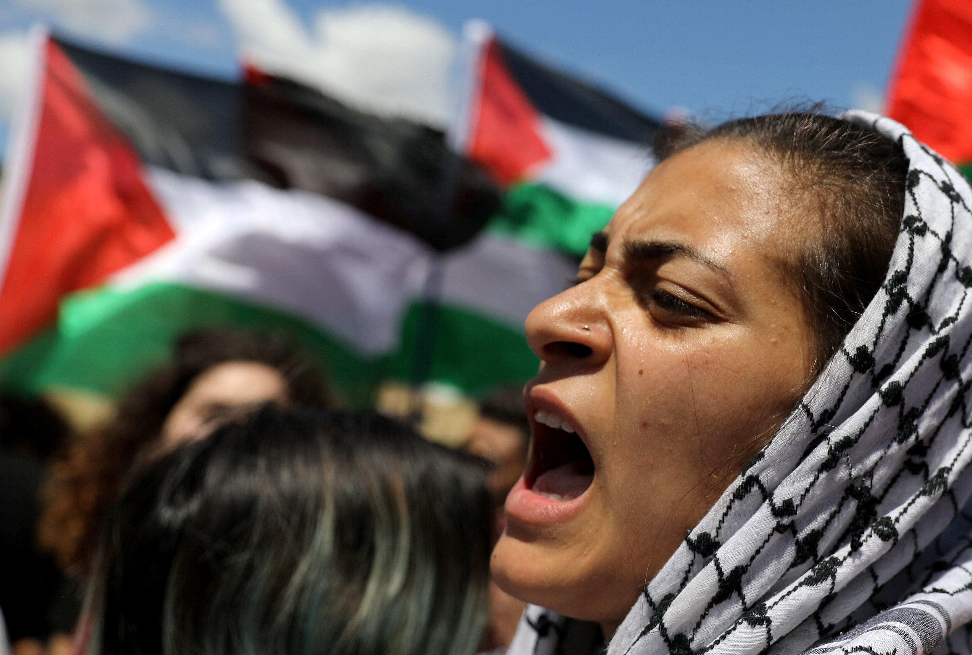 "Members of Israel's Arab minority take part in a rally marking the ""Nakba"" or ""Catastrophe"", when Palestinians lament the loss of their homeland in the 1948-49 war, that caused the creation of Israel, near the abandoned village of Khubbayza, northern Israel May 9, 2019."