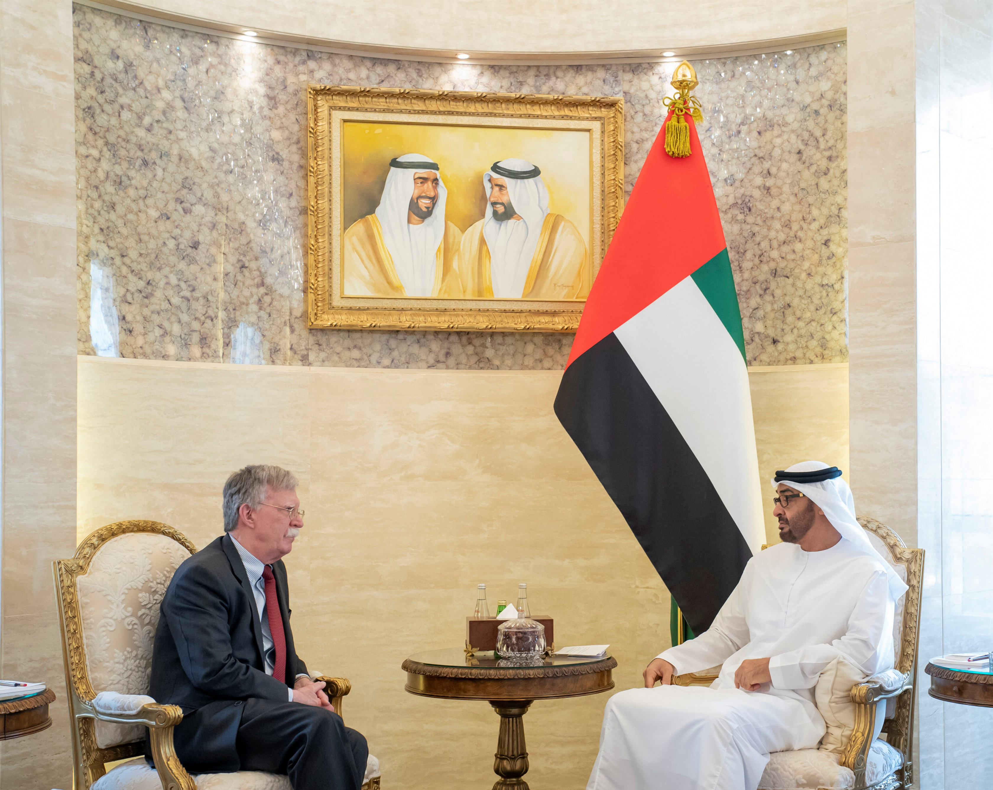 Abu Dhabi's Crown Prince Mohammed bin Zayed meets with US National Security Advisor John Bolton in Abu Dhabi (Reuters)