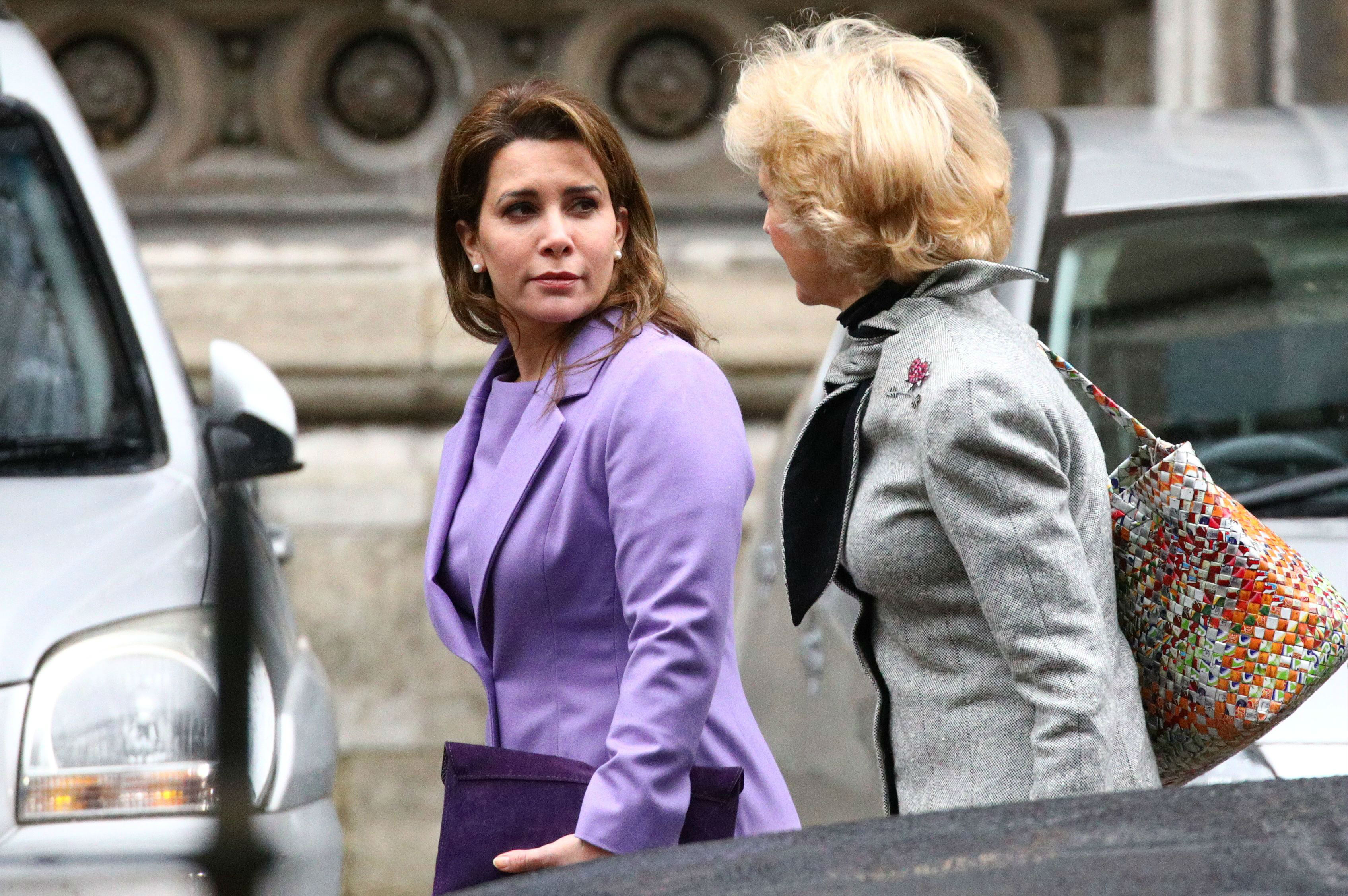 Princess Haya bint Al Hussein, the wife of Dubai's Sheikh Mohammed bin Rashid Al Maktoum, and her lawyer Baroness Fiona Shackleton arrive at the High Court (Reuters)