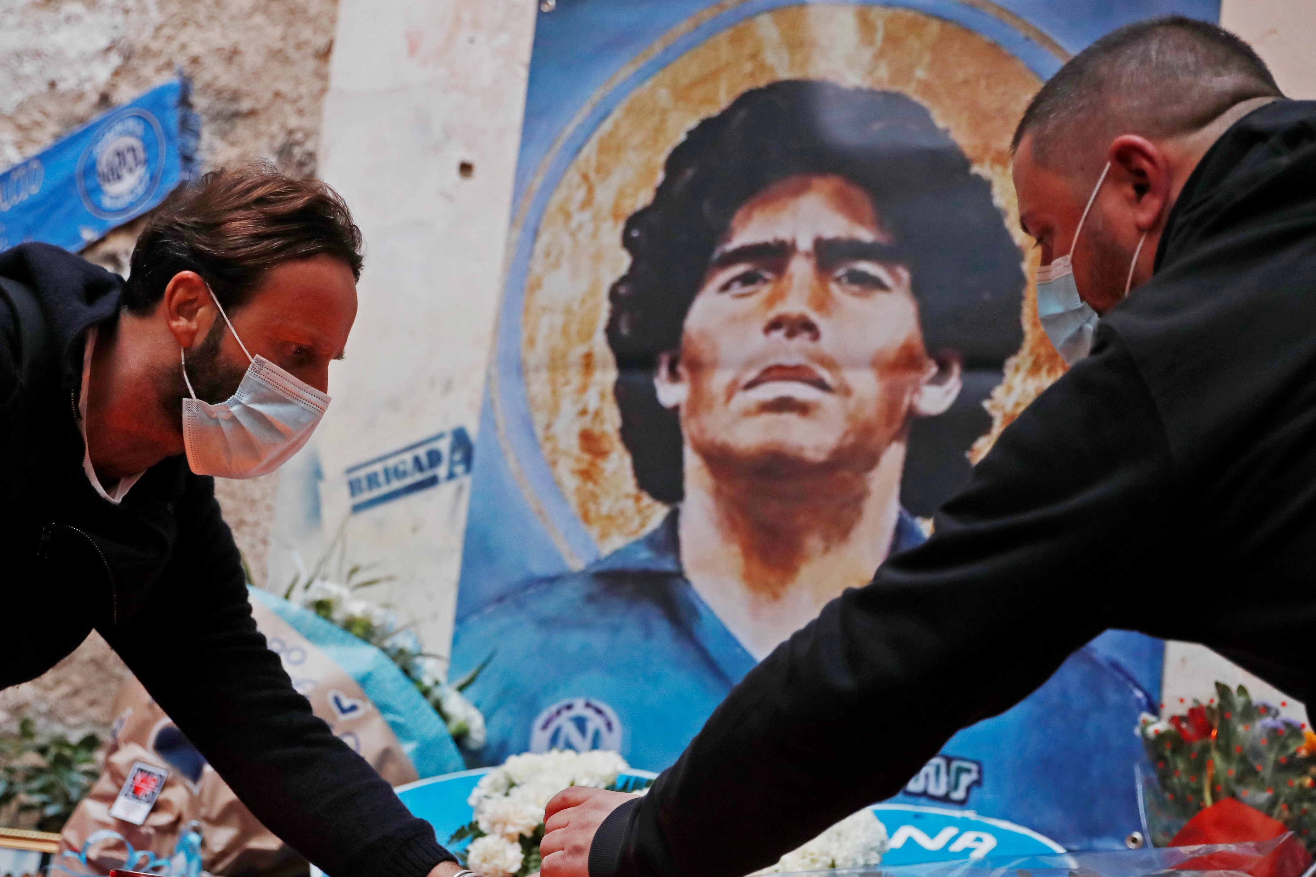 People mourn the death of Argentine soccer legend Diego Maradona, Naples, Italy - November 26, 2020