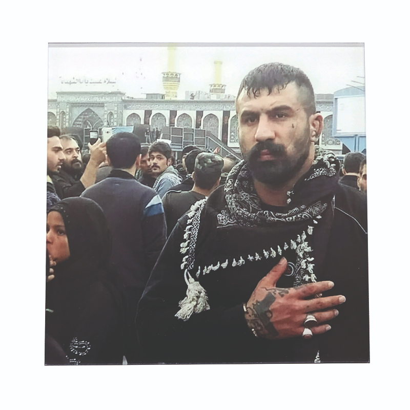 "Vahid Moradi AKA ""The Eagle of Iran"" outside the Imam Reza Shrine in Mashhad, Iran. (Pouria Khojastehapay)"