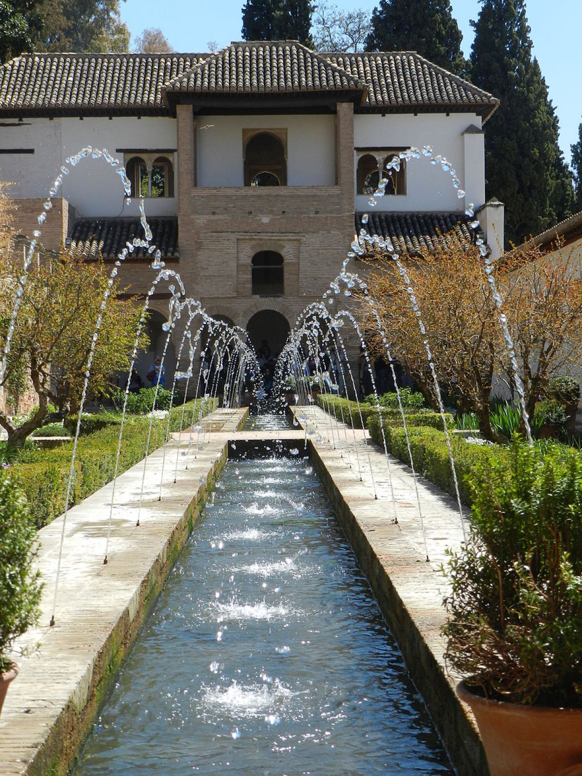 The Generalife gardens of Alhambra in Spain (creative commons)