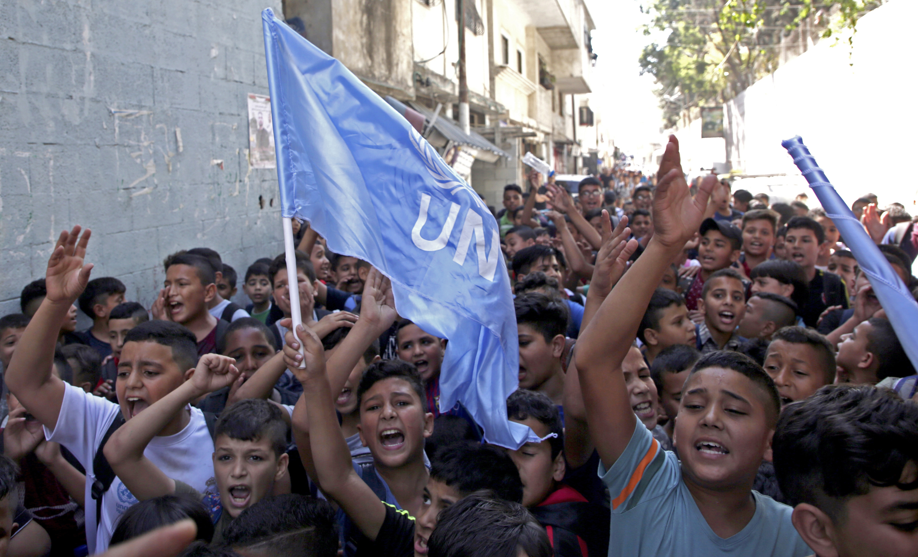 UNRWA Palestinian students protests