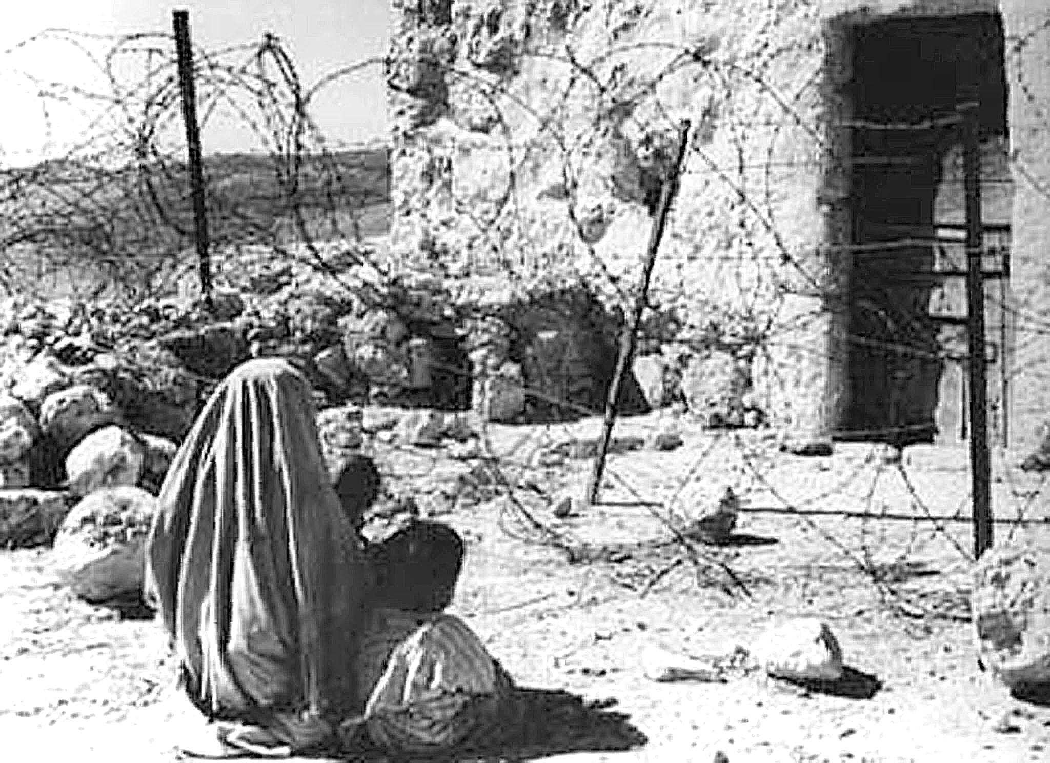 "a Palestinian woman refugee and her child separated from their home by the ""green line"" after the 1948 war"
