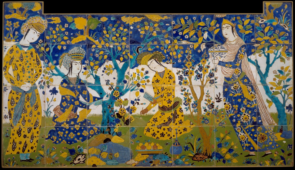 """Reciting Poetry in a Garden"", an early 17th Century tile panel from Isfahan, Iran (Creative commons/Rogers Fund, 1903)"