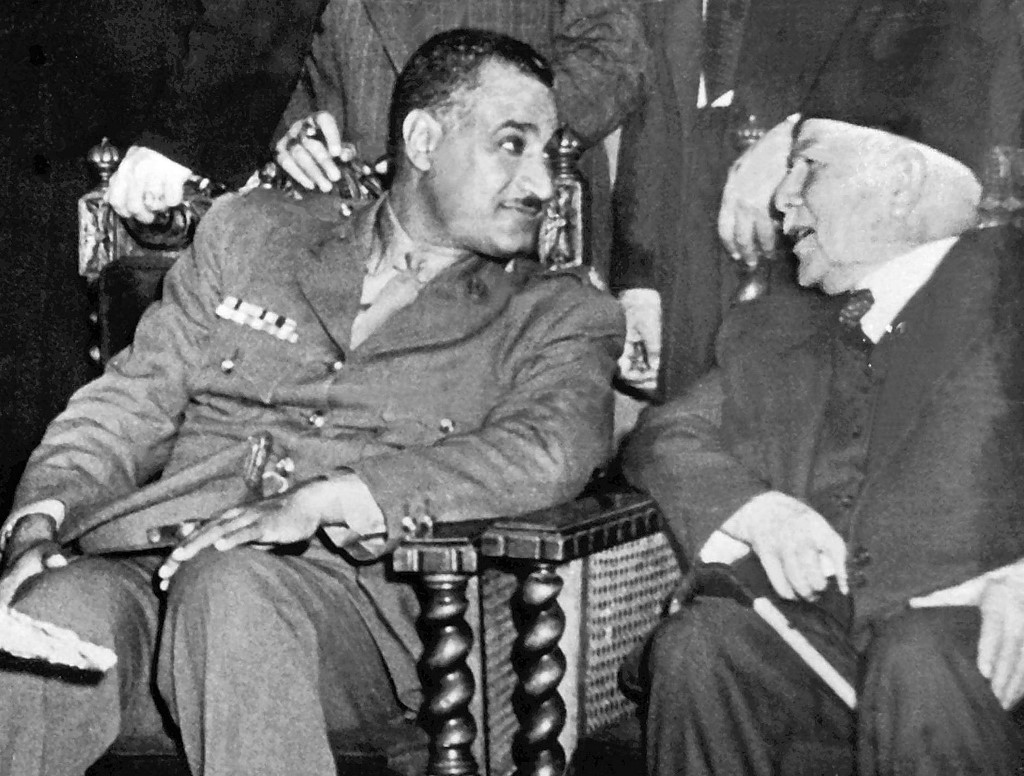 A picture from the 1950s shows Egyptian President Gamal Abdel Nasser (L) with Syrian Prime Minister Fares al-Khoury in Cairo.