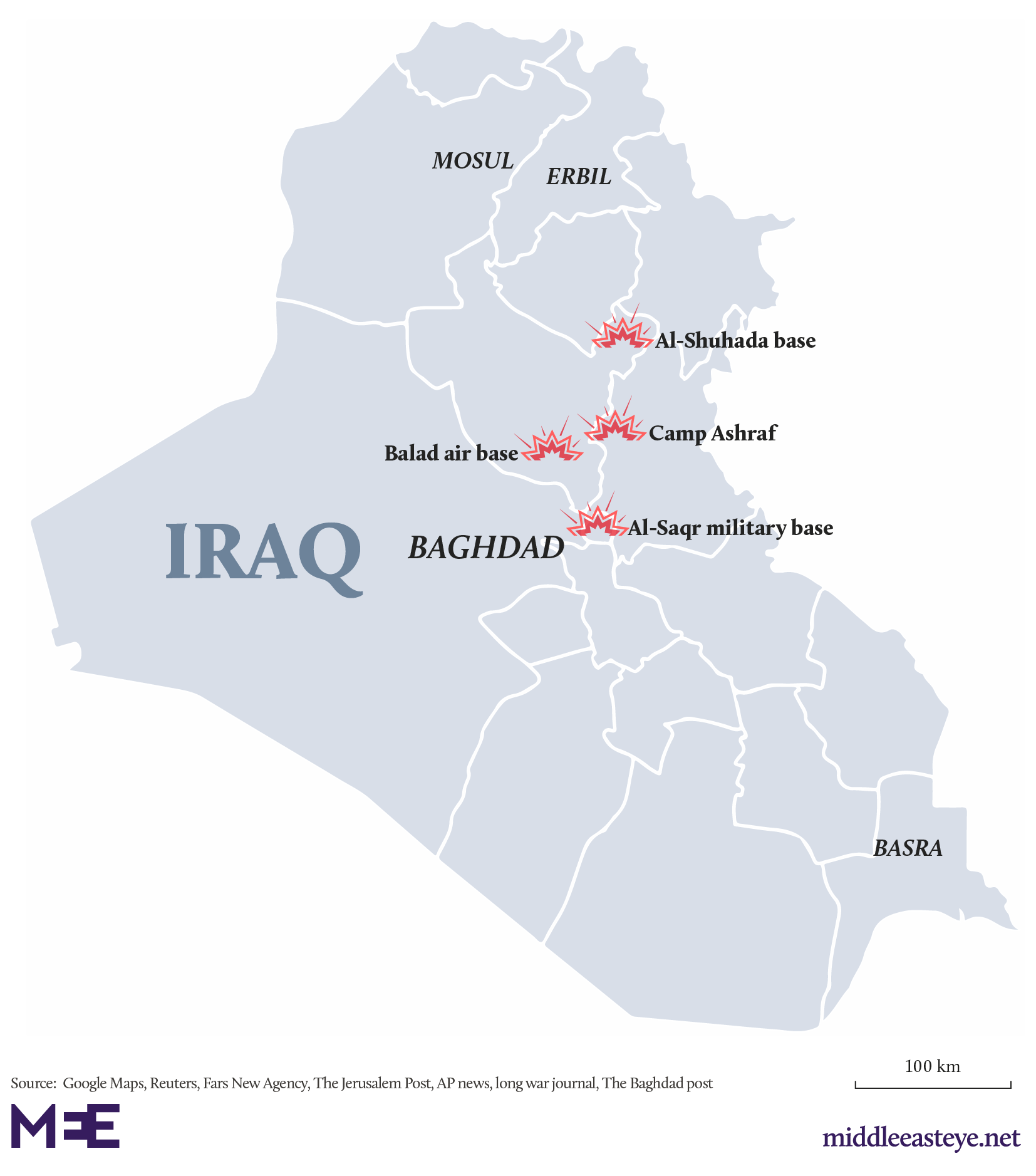 Iraq bases attack map