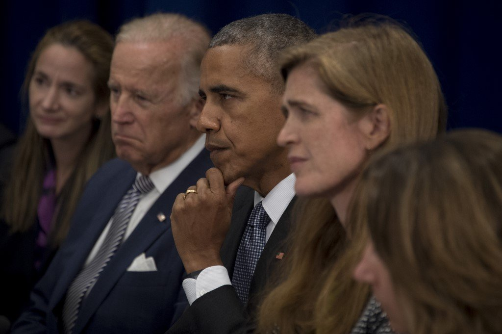 Then-US President Barack Obama, flanked by then-Vice President Joe Biden and then-UN ambassador Samantha Power, are pictured in New York in 2016 (AFP)
