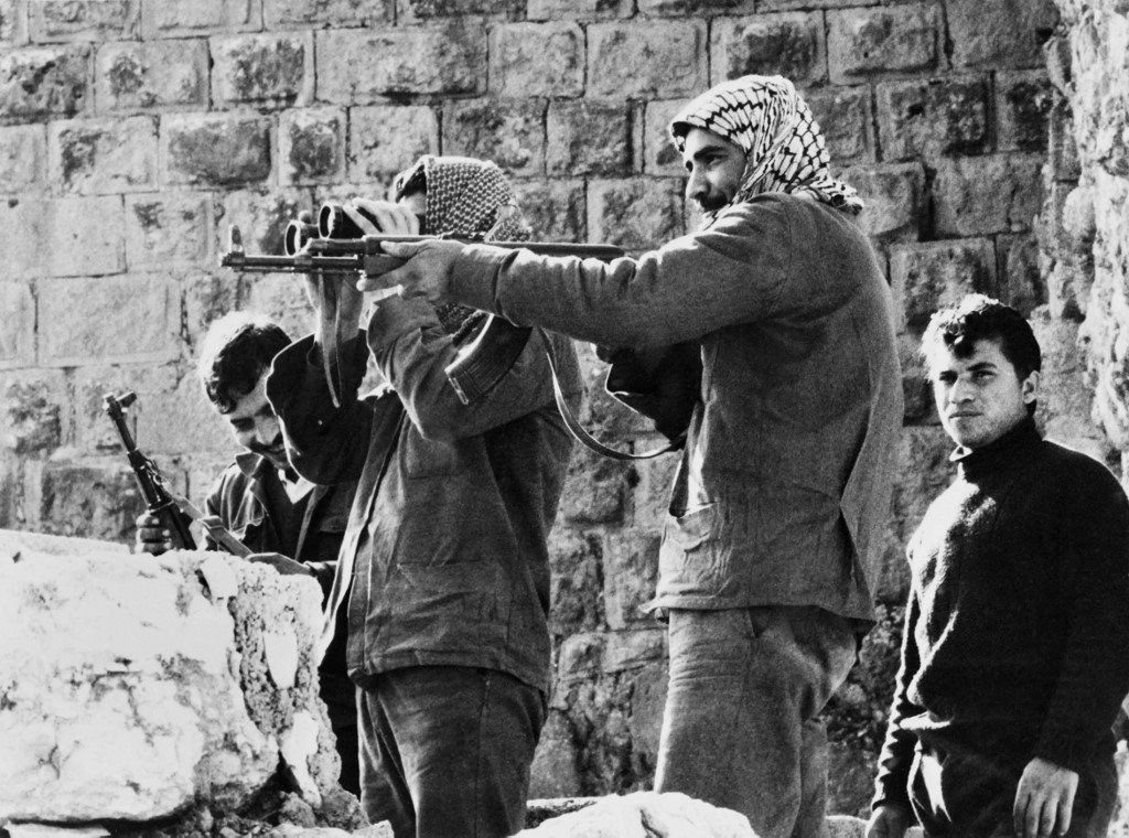 Palestinians fedayins keep a watch on the surroundings of the Ajloun castle where they have taken up position, on December 22, 1970,