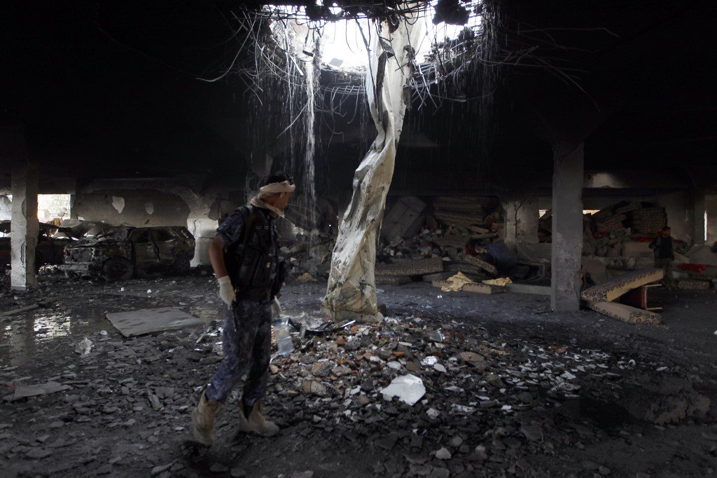 Rubble in the destroyed funeral hall after the air strikes on 8 October 2016 (AFP