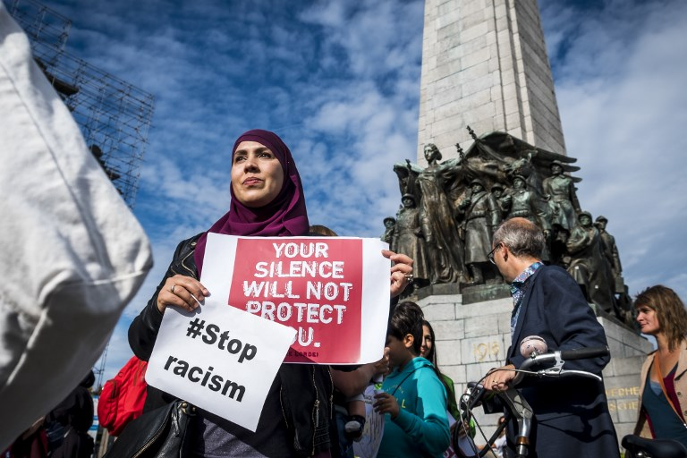 People protest against Islamophobia in Brussels on 9 September (AFP)