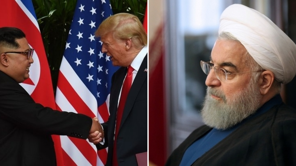 US President Donald Trump and North Korean president (L) and Iranian President Hassan Rouhani (R)