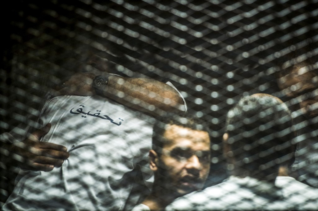 Egyptian defendants in a mass trial are pictured in Cairo in September 2018 (AFP)