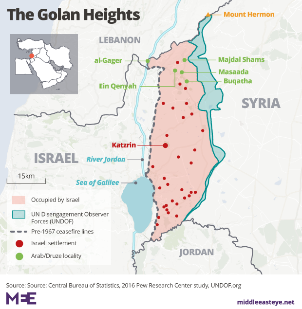 Israel has occupied the Golan Heights since 1967 after it defeated Syria in the Yom Kippur War (MEE Graphics)