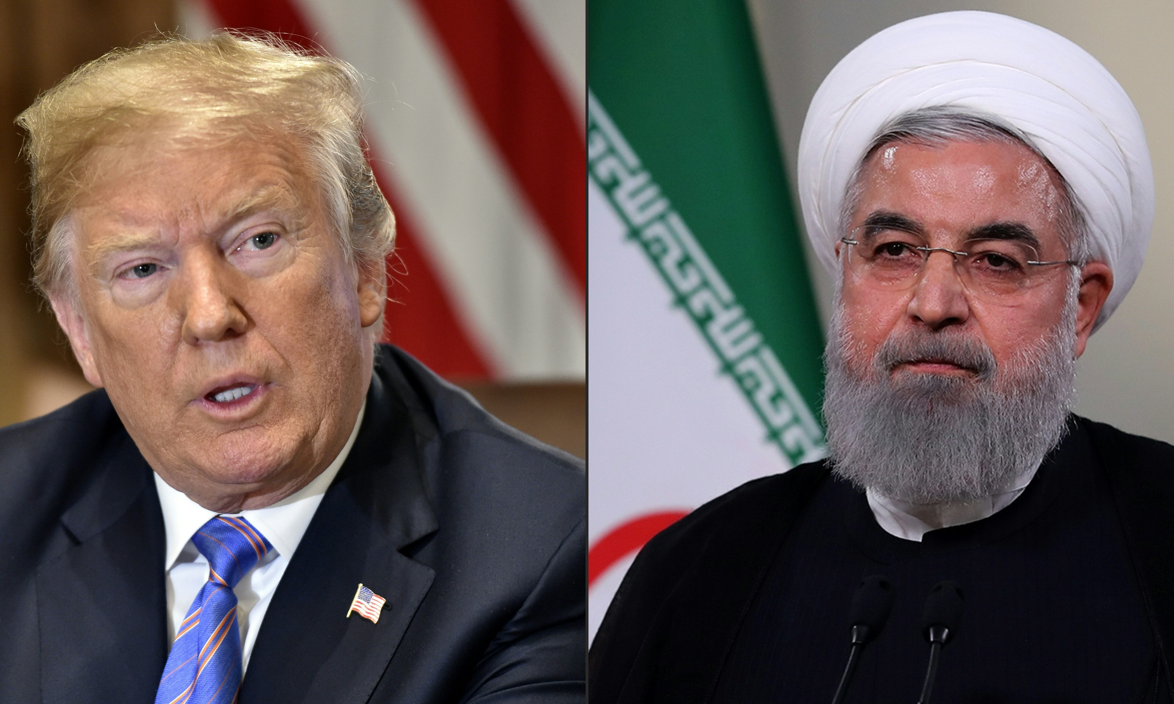 US President Donald Trump and Iranian President Hassan Rouhani (AFP)