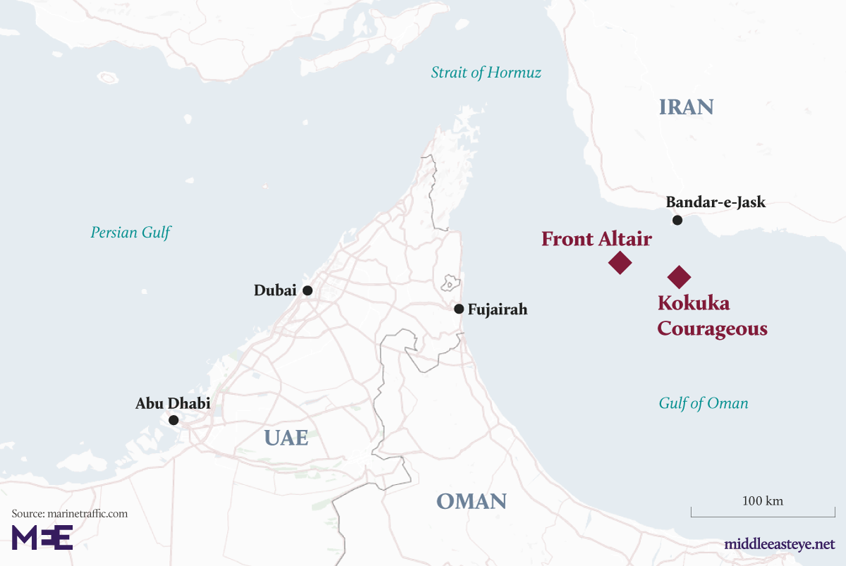 Two tankers evacuated after suspected attacks in the Gulf of Oman - Map