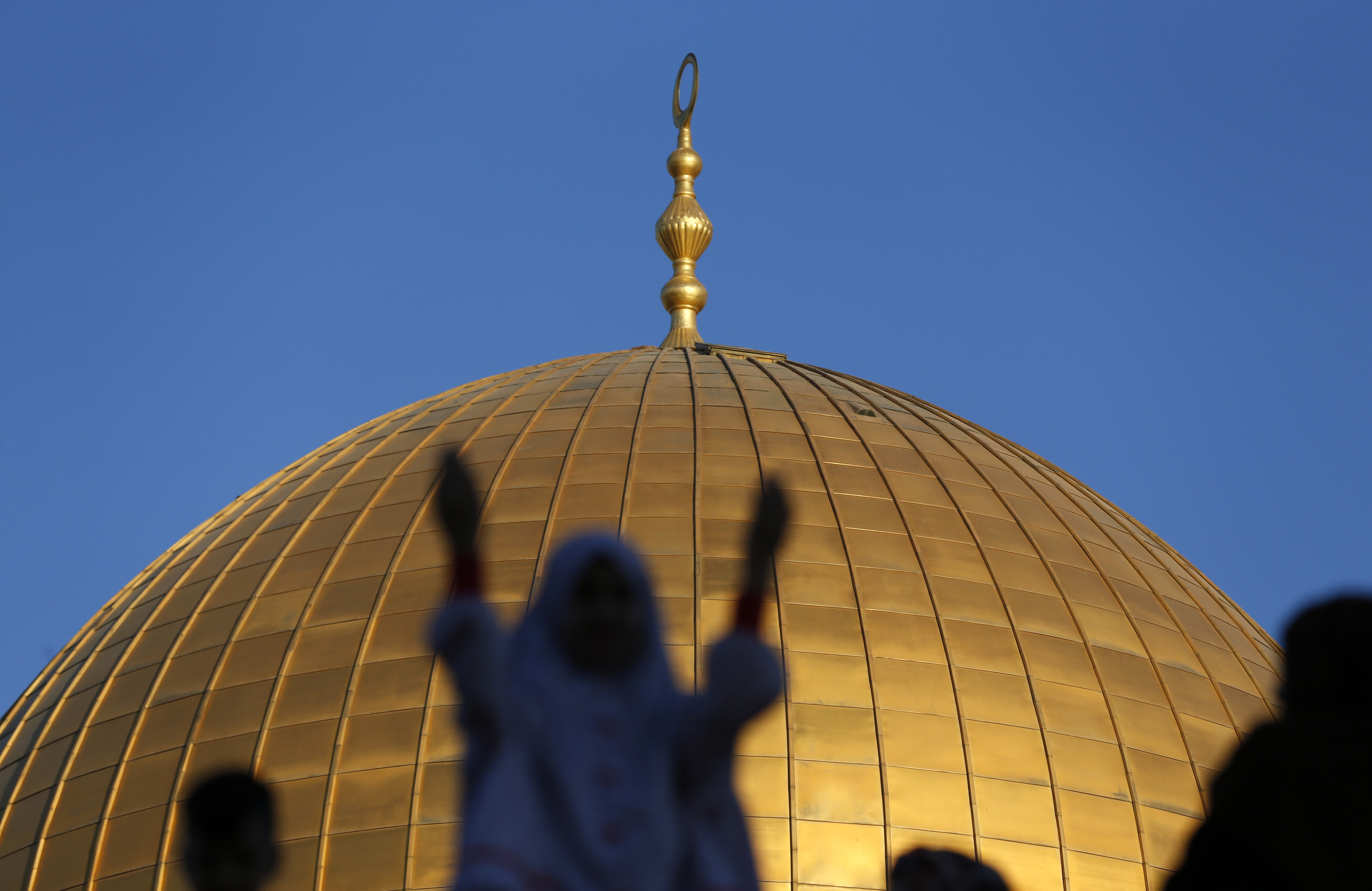 Palestinians Eid al-Fitr prayer Dome of Rock Jerusalem (AFP)