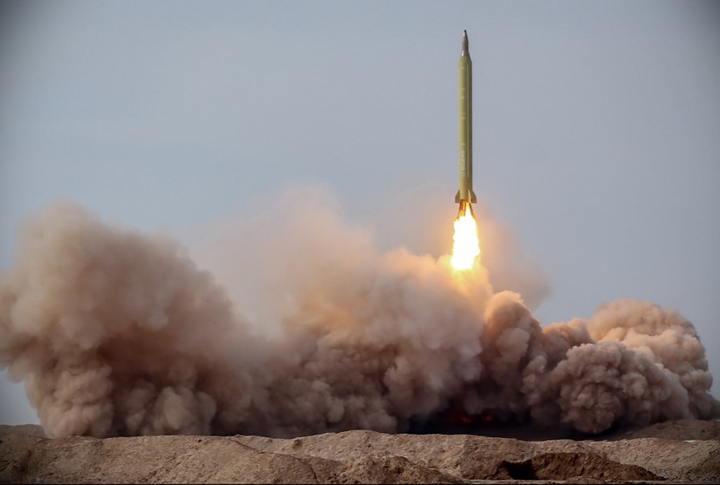 Iran's Revolutionary Guard Corps official website via SEPAH News on 16 January 2021, shows a launch of a missile during a military drill in an unknown location (AFP)