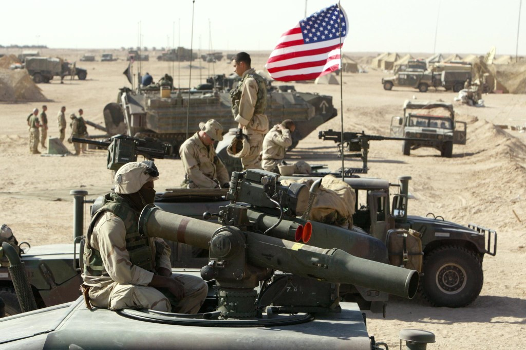 US marines are pictured near the Iraqi border on 15 March 2003 (AFP)