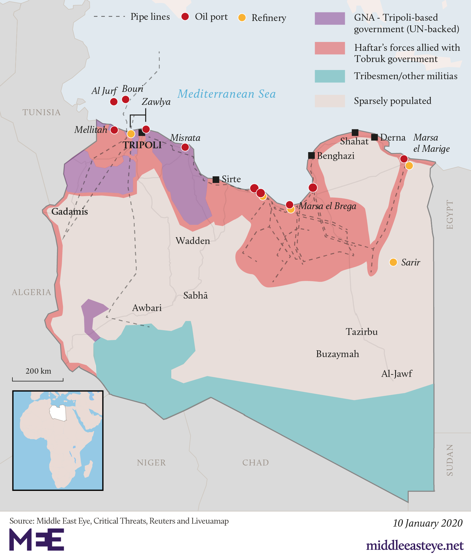 A map of the Libya conflict.