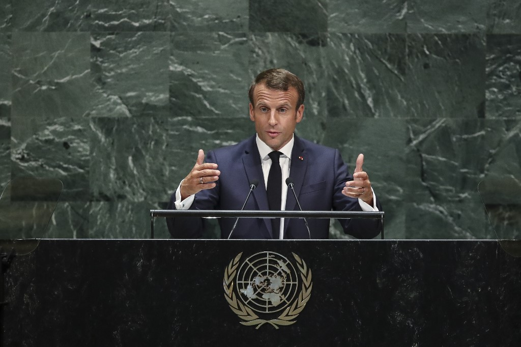 French President Emmanuel Macron addresses the UN on 24 September in New York (AFP)