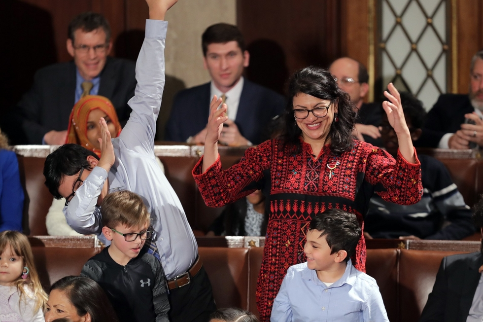 When US Congresswoman Rashida Tlaib wore a thobe to be sworn in last year, it put the rich history of Palestinian dress into the spotlight (AFP)
