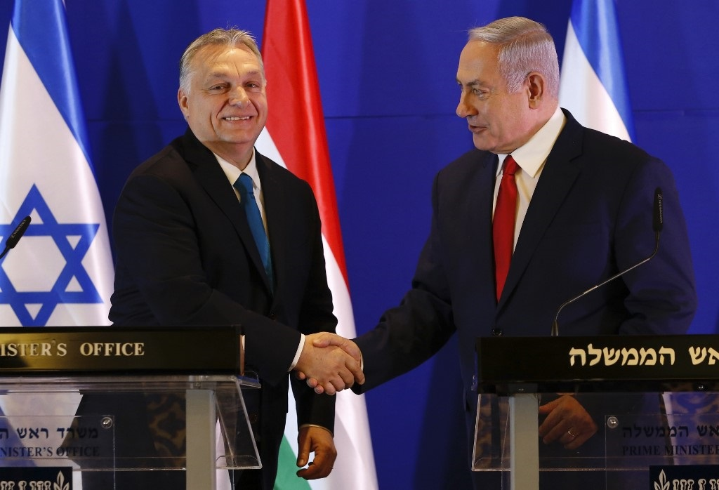 Hungarian Prime Minister Viktor Orban and Netanyahu earlier this year in Jerusalem (AFP)