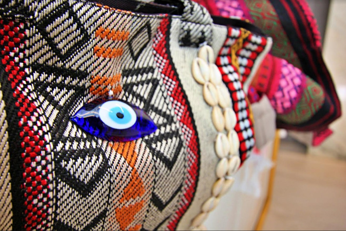 Orfali's design feature Bedouin patterns and materials and are all original to her