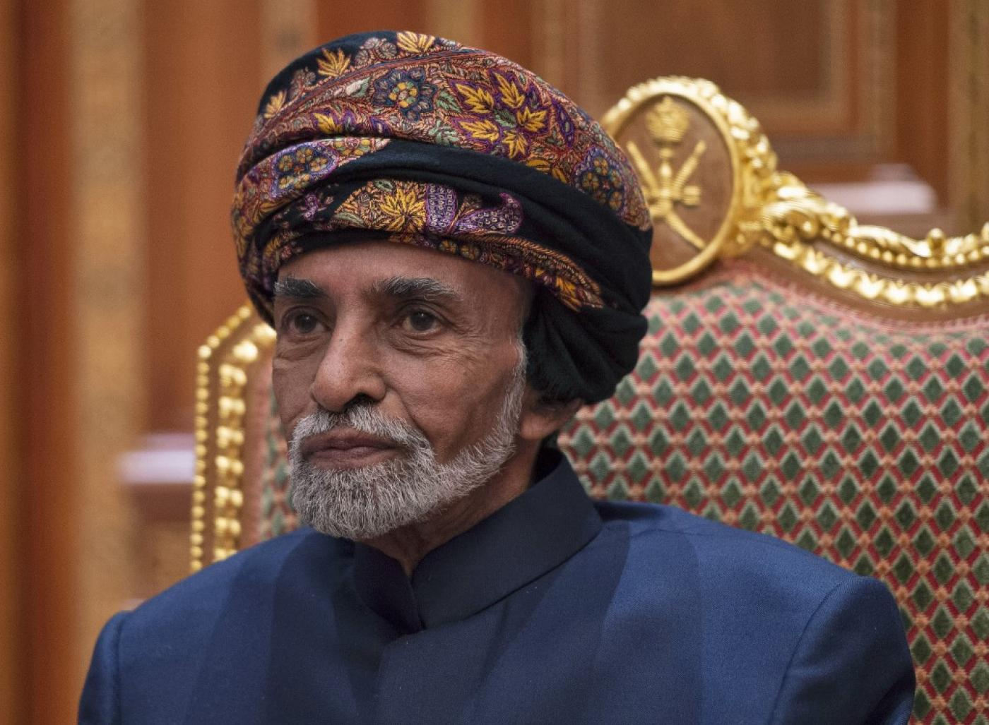 Oman's Sultan Qaboos is pictured at his palace in Muscat on 14 January (AFP)