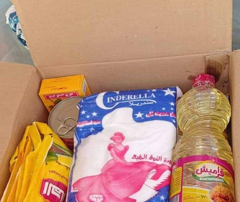 A box of food handed out to Egyptians who voted for constitutional amendments (MEE)