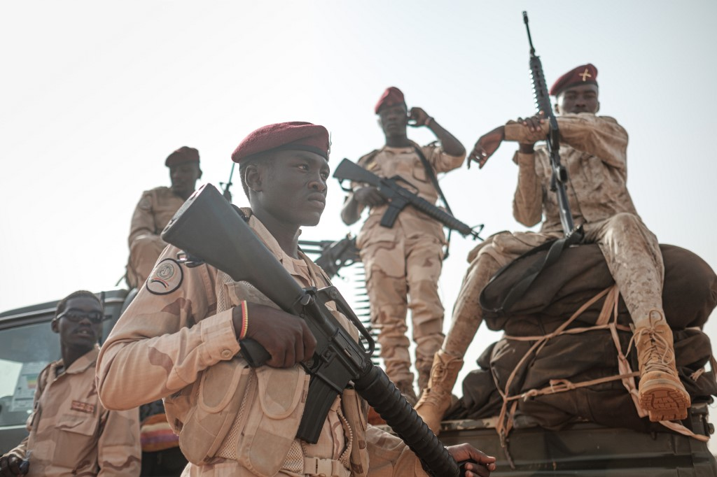 Members of Sudan's Rapid Support Forces are pictured in the village of Abraq on 22 June (AFP)