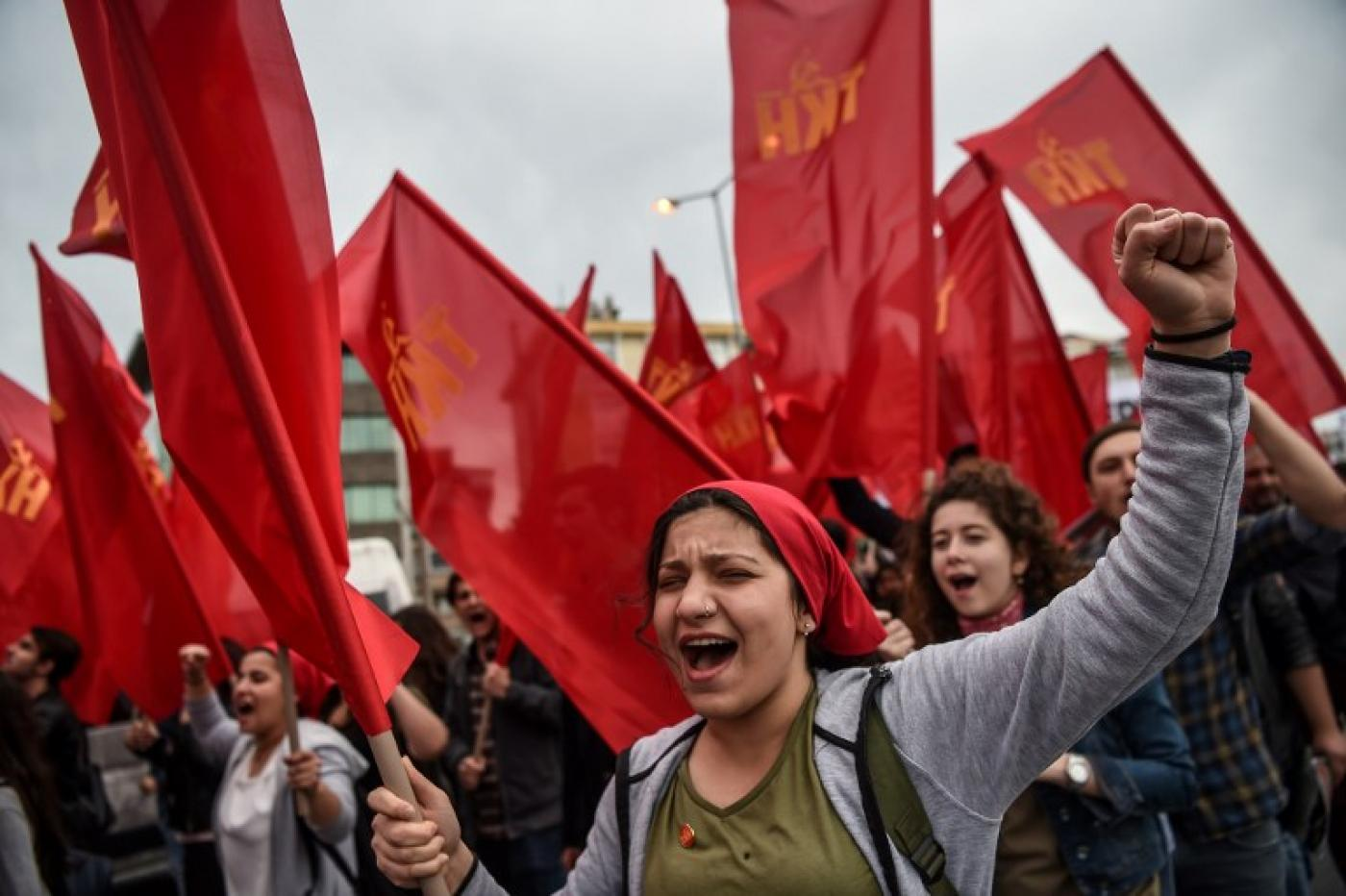 Turkish Communists march in Istanbul in 2017 (AFP)
