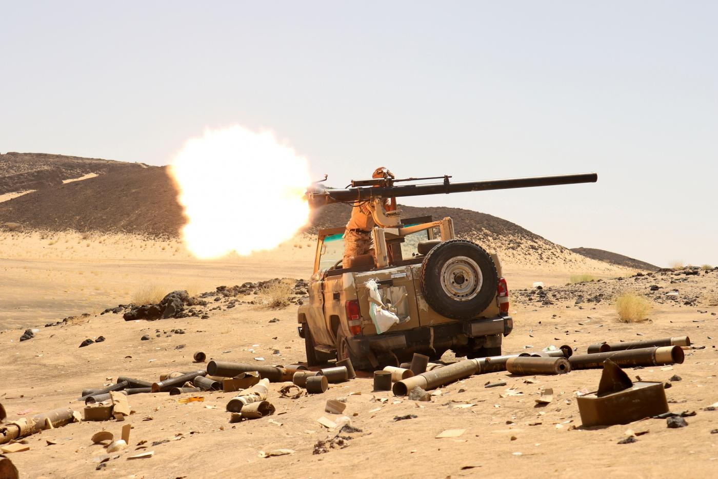 A Yemeni government fighter at a frontline position during fighting against Houthi rebels in Marib, 9 March (Reuters)