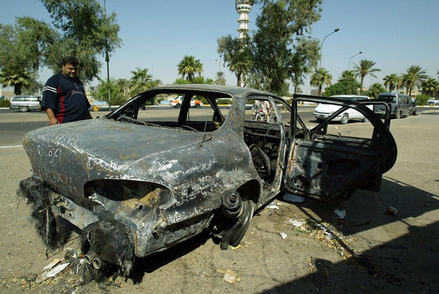 Vehicle destroyed in Blackwater attack in Baghdad in 2007 (AFP)