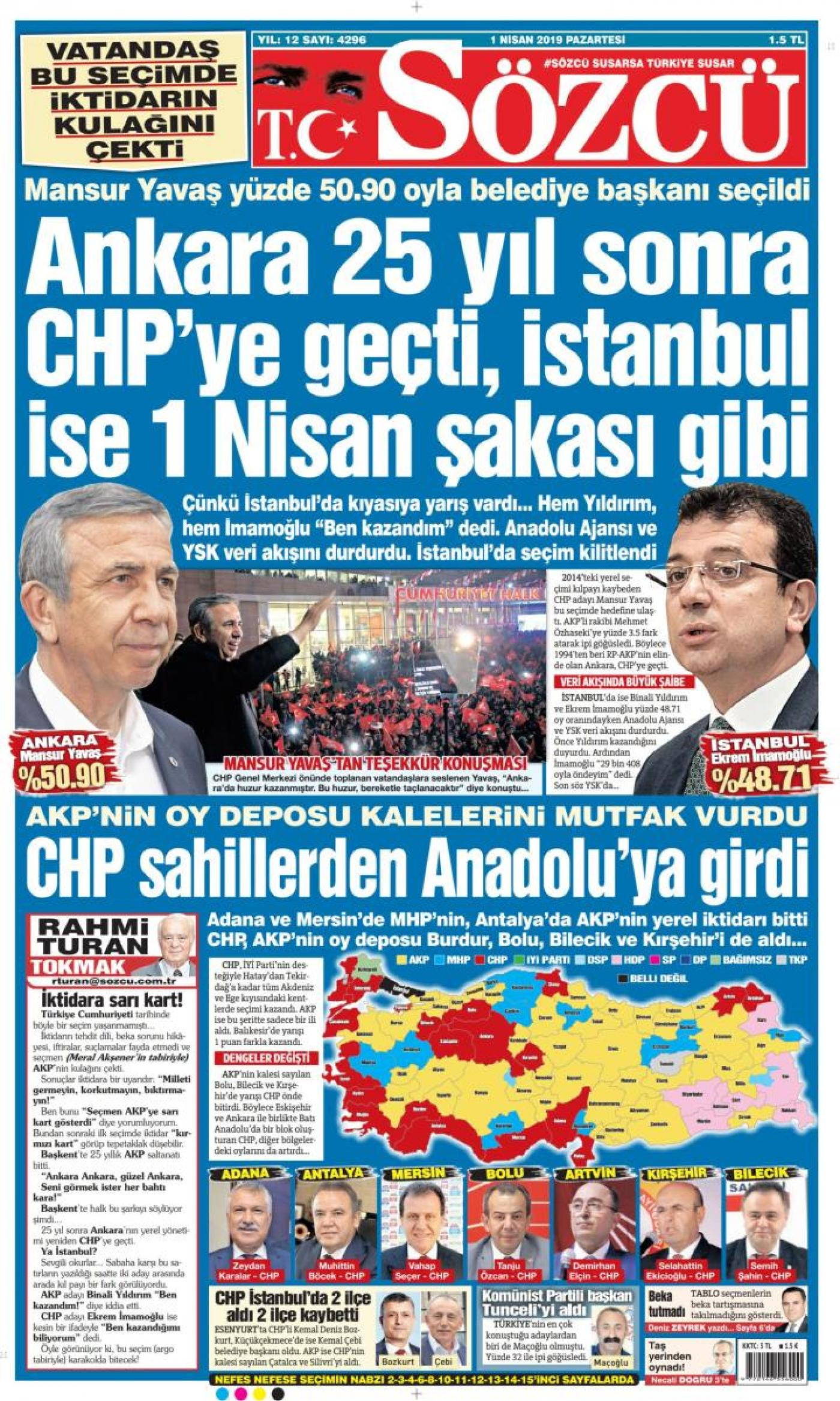 Sozcu daily front page following local elections in Turkey