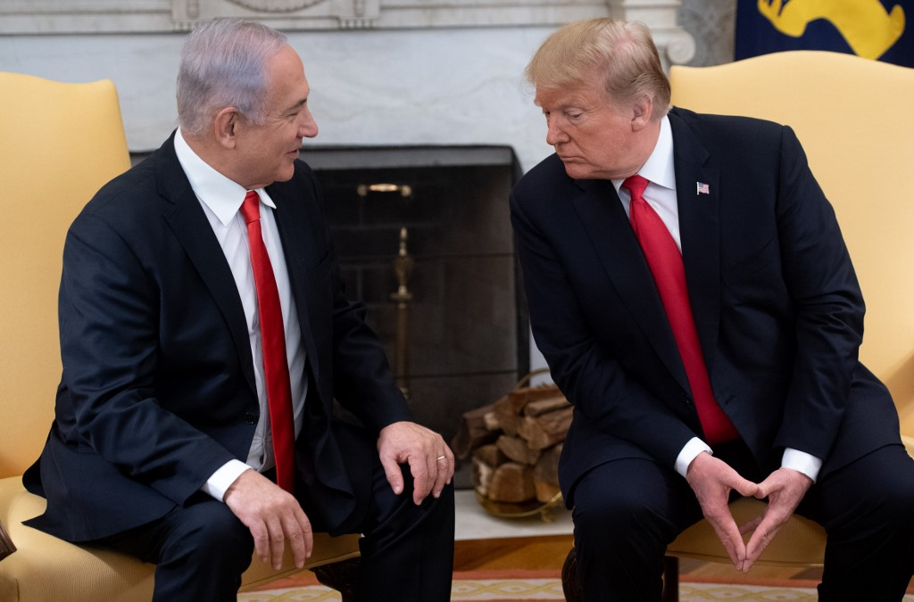 US President Donald Trump and Netanyahu at the White House earlier this year (AFP)