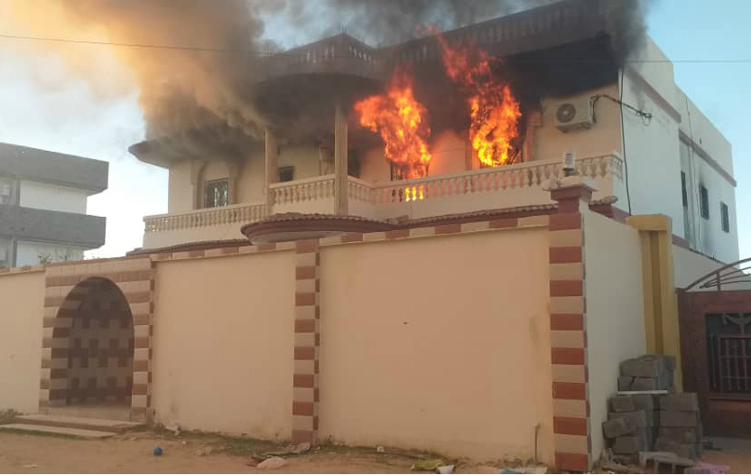 The house of Youssif Adem Lino, brother of Tebu MP in Libya's eastern parliament, after being set ablaze in Murzuq (Social media)